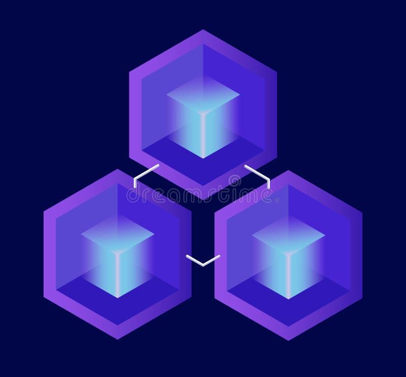 Состав Cryptocurrency и Blockchain равновеликий Равновеликая иллюстрация вектора секретные блоки на темной предпосылке иллюстрация вектора