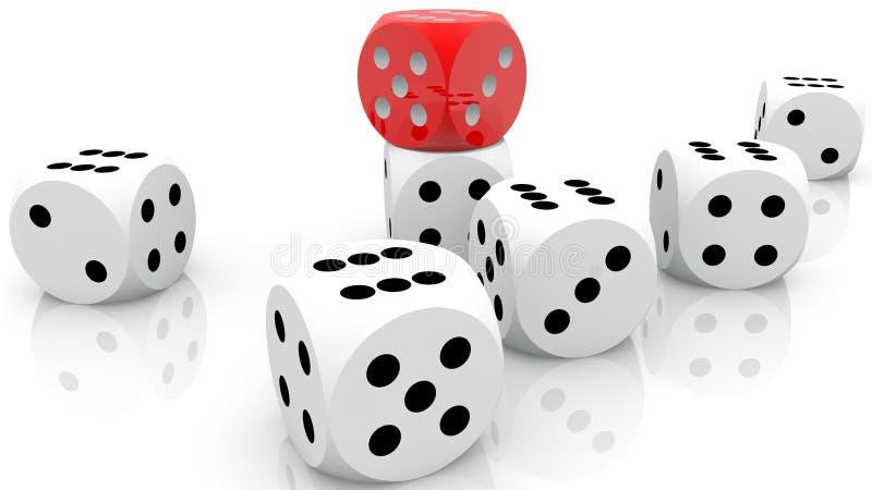 Состав dices в белых и красных цветах иллюстрация штока