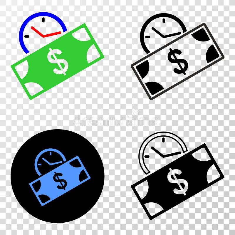 Состав Gradiented поставил точки время кредита банкноты и печать Grunged иллюстрация вектора