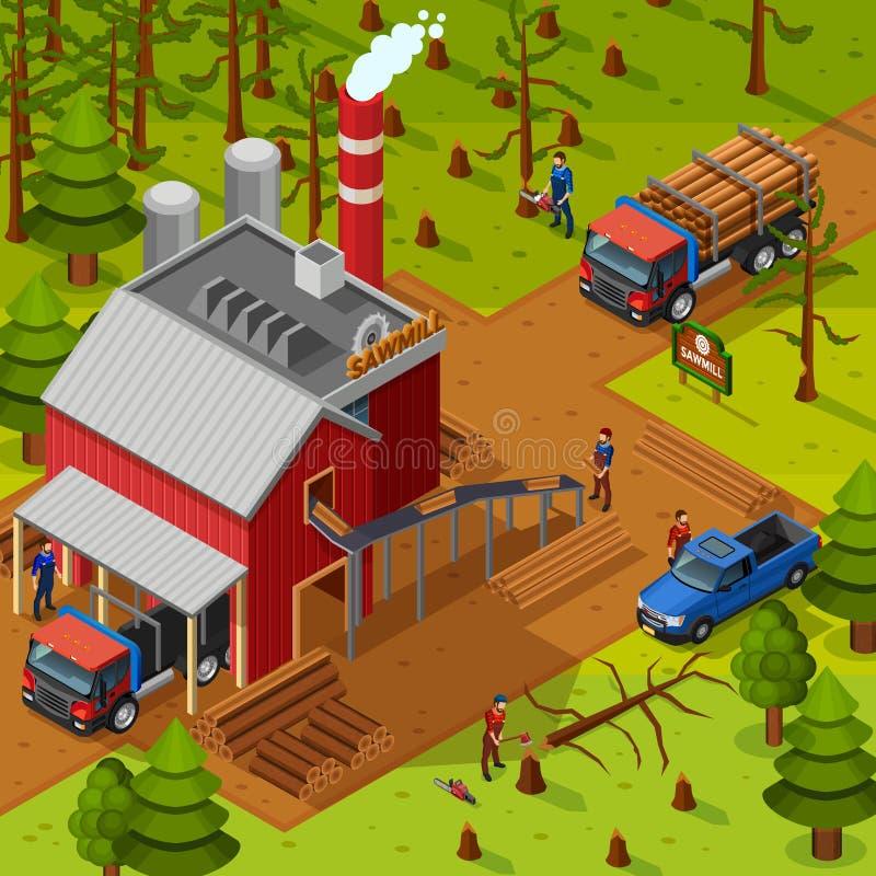 Состав Lumberjack равновеликий иллюстрация вектора