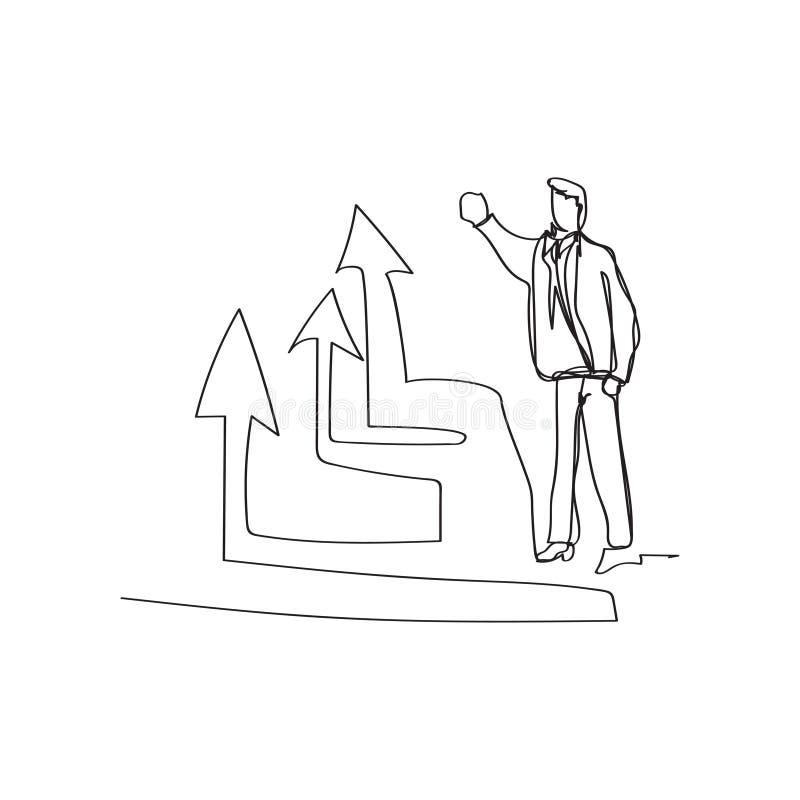 состояние бизнеса - стоящий бизнесмен представляя поднимая диаграмму в непрерывной линии стиле чертежа, тонком линейном векторе иллюстрация вектора