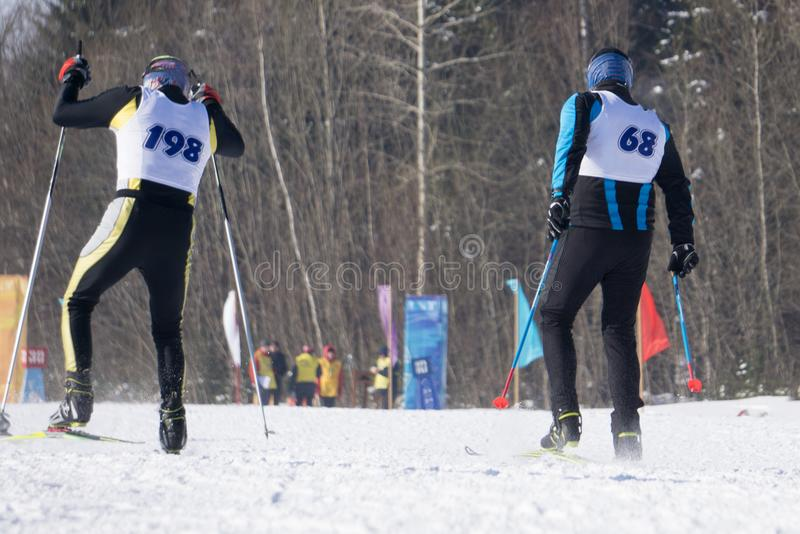Состязайтесь во время конкуренций чашки фристайла и лыжи европейских стоковая фотография