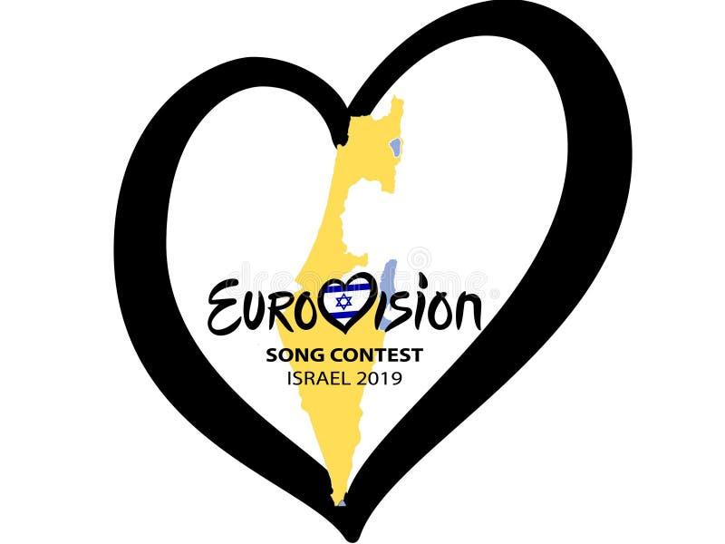 Состязание песни Евровидения 2019 в Израиле на белой предпосылке Концепция состязания песни Сердце музыки с литерностью также век иллюстрация штока