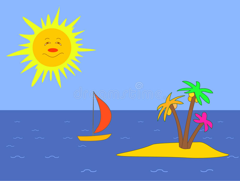 сосуд солнца острова иллюстрация штока