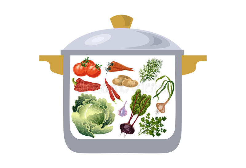 Сотейник с овощами, ингридиентами для подготовки борща иллюстрация штока