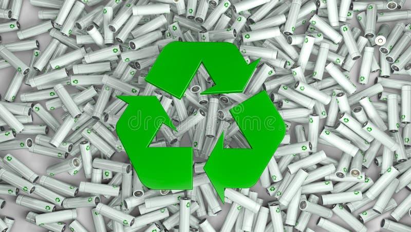 Сотни красочных батарей и в середине зеленый цвет рециркулируют символ бесплатная иллюстрация