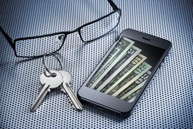 Сотовый телефон бумажника дег цифров стоковая фотография rf