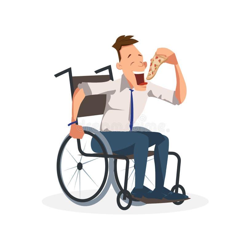 Сотрудник сидит в кресло-коляске с куском пиццы иллюстрация вектора