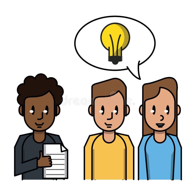 Сотрудник с документом и идеей иллюстрация вектора