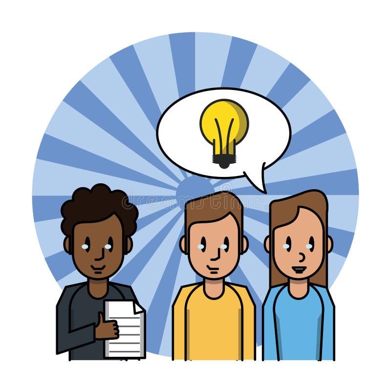Сотрудник с документом и идеей бесплатная иллюстрация