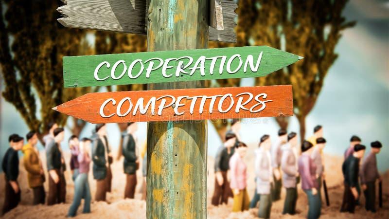 Сотрудничество знака улицы против конкурентов стоковые фотографии rf