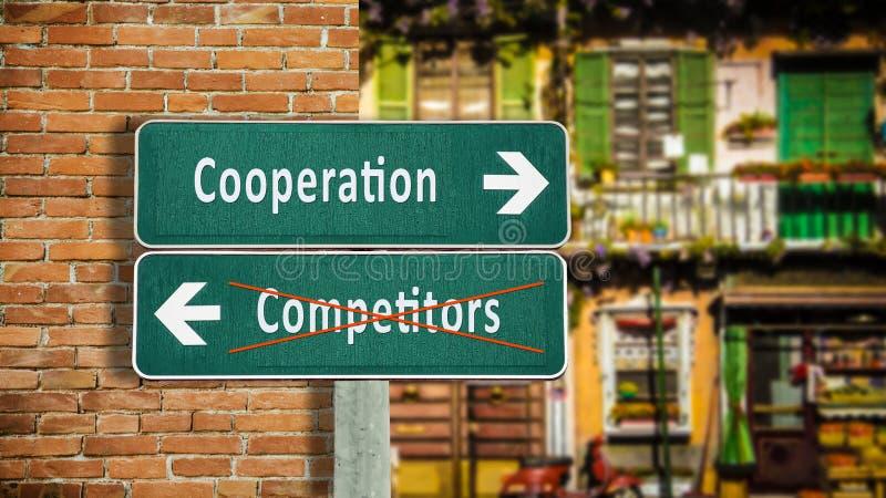 Сотрудничество знака улицы против конкурентов стоковое изображение rf