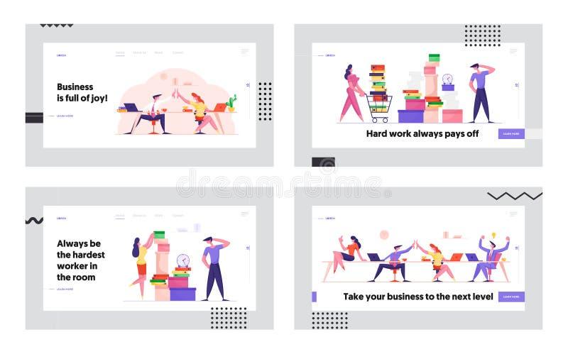 Сотрудничество и крайняя ситуация в работе группы на портале Office Website Предприниматели, работающие с документами иллюстрация штока