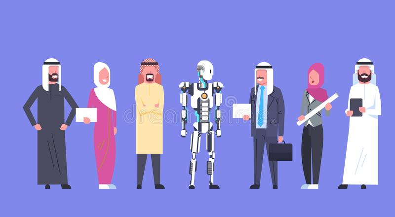 Сотрудничество человека и робота, арабские бизнесмены группы с современное робототехническим, концепции искусственного интеллекта иллюстрация штока