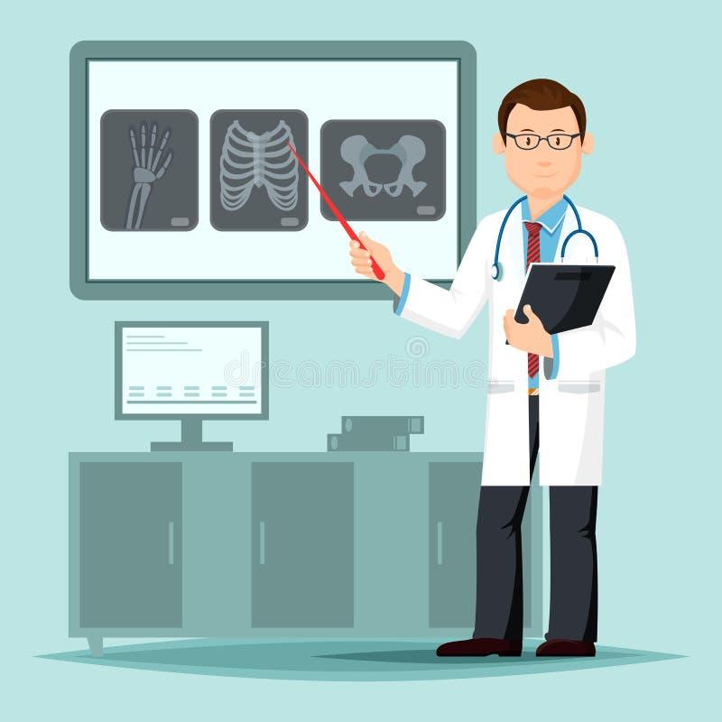 Сотрудник военно-медицинской службы или доктор указывая на рентгеновский снимок перед хирургией бесплатная иллюстрация
