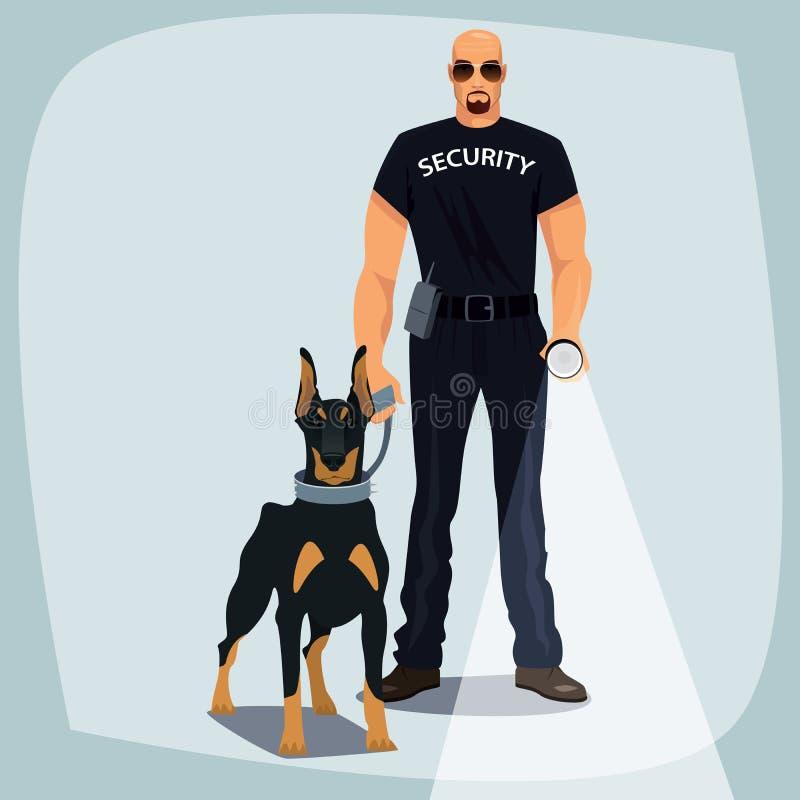 Сотрудник охраны держа собаку предохранителя поводка иллюстрация штока