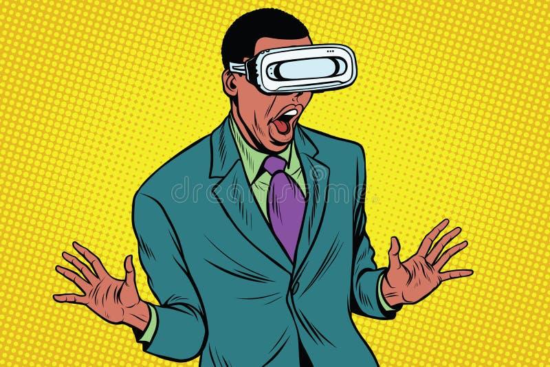 Сотрясенный афроамериканец в стеклах VR бесплатная иллюстрация