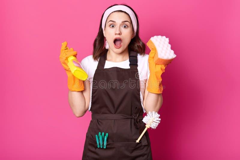 Сотрясенный женский эконом держит губку и детержентные брызги в руках, имеющ очень работать для того чтобы сделать Привлекательна стоковое фото rf
