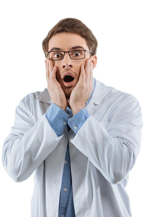 Сотрясенный мужской химик стоковая фотография rf