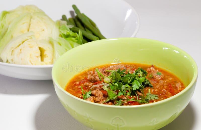 Соус свинины пряный. Тайская традиционная еда, тайский ong prik Nam звонка стоковое изображение rf