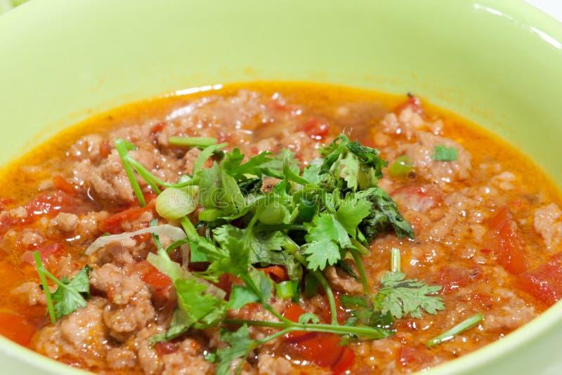 Соус свинины пряный. Тайская традиционная еда, тайский ong prik Nam звонка стоковая фотография
