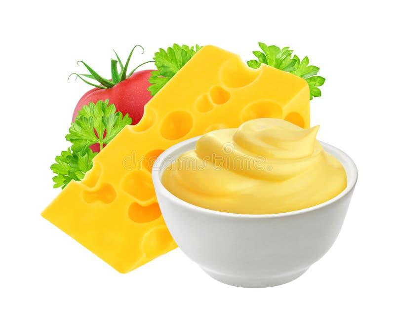 Соус сыра изолированный на белой предпосылке стоковое изображение