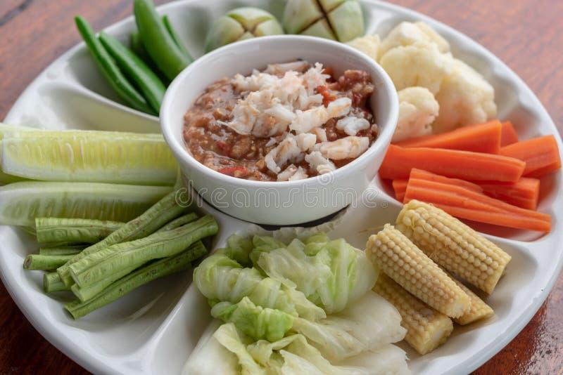 Соус Chili креветки и тайские овощи стоковые изображения