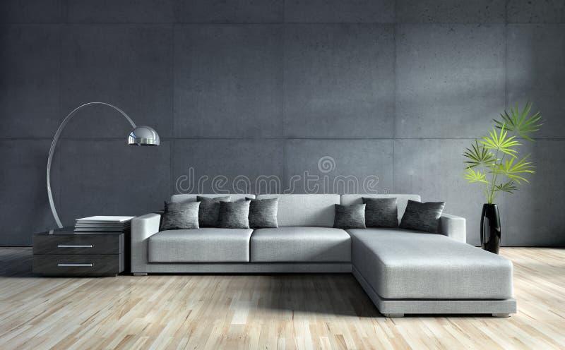 Софа в современное темном - серая живущая комната бесплатная иллюстрация