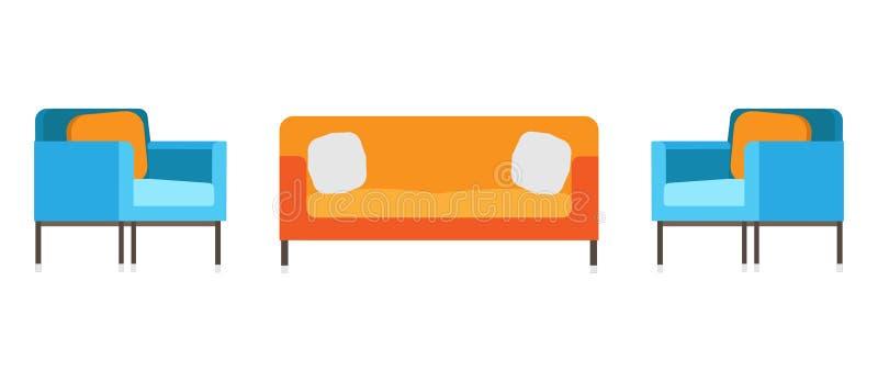 Софа и кресло живущей комнаты офиса стула ослабляют Внутренним дизайн funriture изолированный вектором Искусство символа украшени иллюстрация вектора