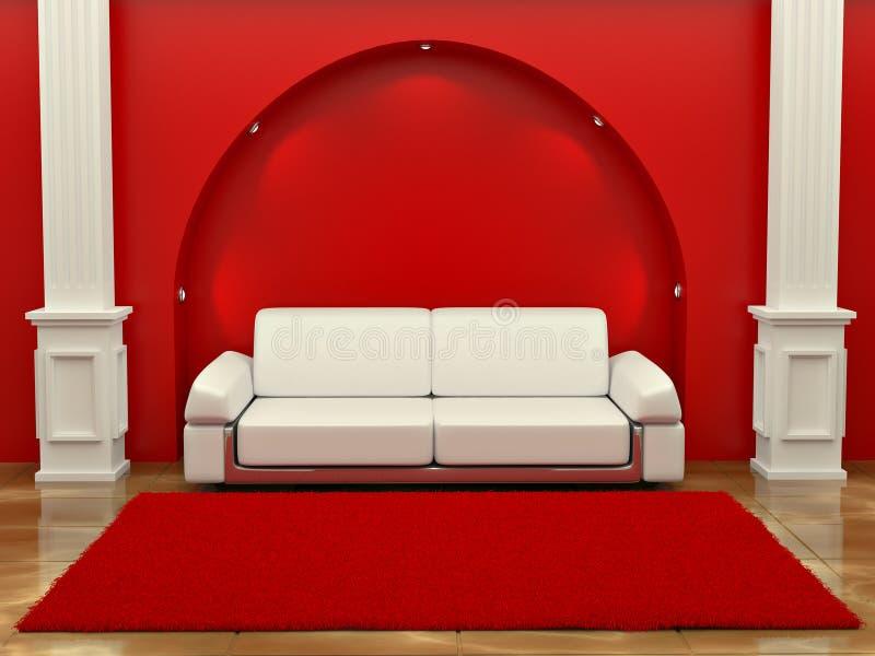 софа комнаты inteiror колонок красная иллюстрация вектора