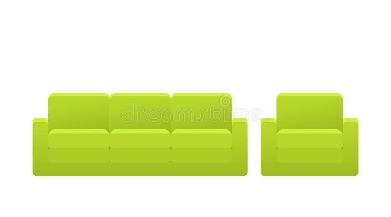 Софа, кресло, значок кресла Иллюстрация вектора в плоском дизайне иллюстрация вектора
