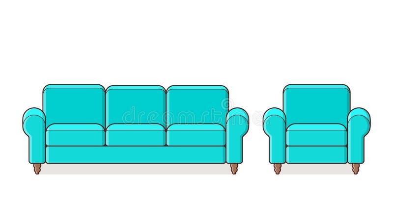 Софа, кресло, значок кресла Иллюстрация плана вектора бесплатная иллюстрация