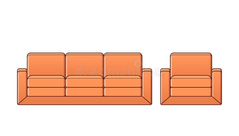Софа, кресло, значок кресла Иллюстрация плана вектора иллюстрация вектора