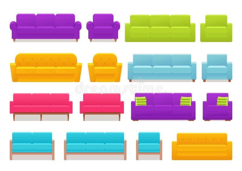 Софа, кресло, комплект кресла также вектор иллюстрации притяжки corel иллюстрация вектора