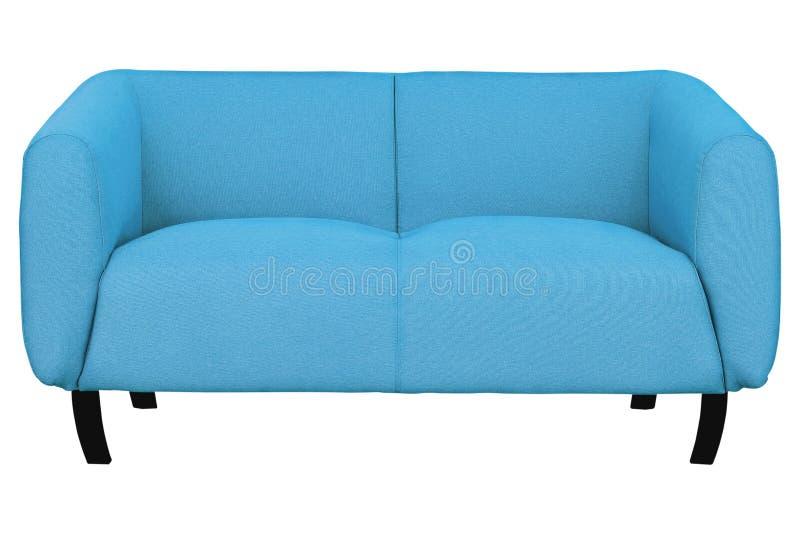 софа ткани 2-места голубая изолированная на белой предпосылке с путем клиппирования стоковое изображение