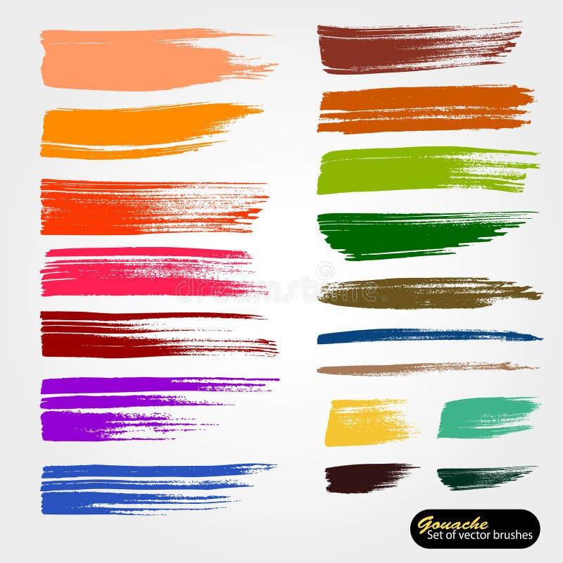 Фон вектора художественный Сохраненные щетки для чистки напильников палитры Пестрая краска, акриловая щетка, ход щетки gouashe, л бесплатная иллюстрация