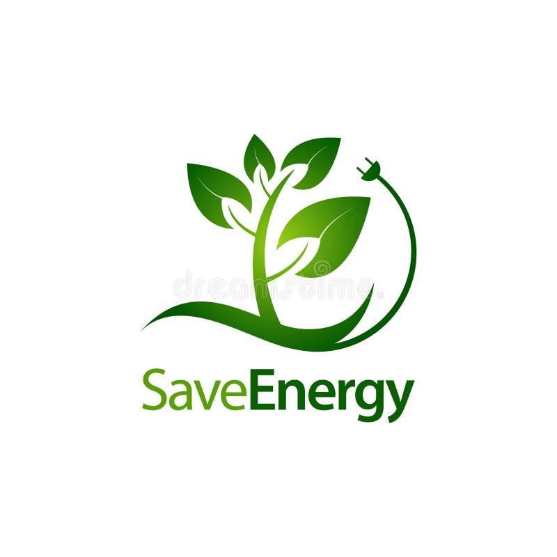 Сохраните стержень энергии выходит с шаблоном дизайна концепции логотипа значка электрической штепсельной вилки иллюстрация штока