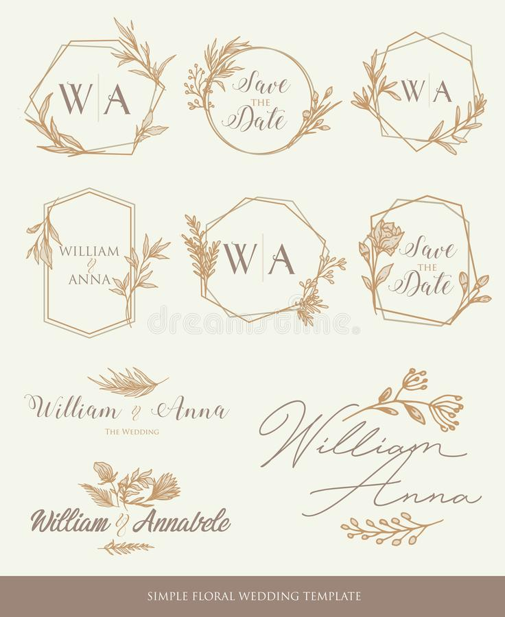 Сохраните шаблон свадьбы даты бесплатная иллюстрация