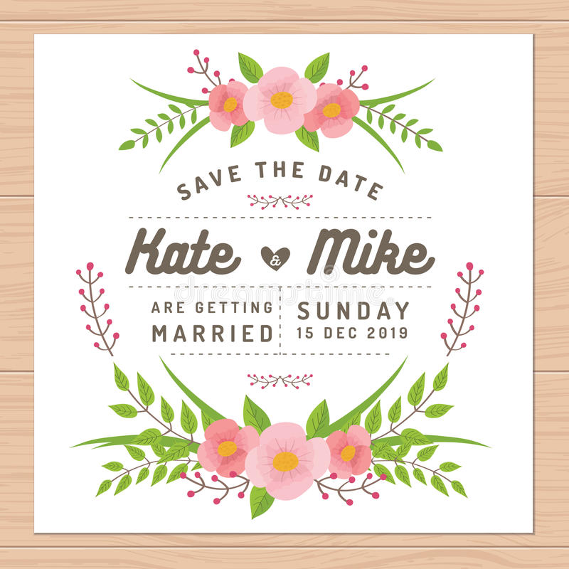 Сохраньте дату, wedding карточка приглашения с шаблонами цветка Предпосылка цветка флористическая иллюстрация вектора