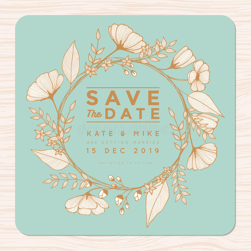 Сохраньте дату, wedding карточка приглашения с шаблоном предпосылки венка цветка в золотом цвете Предпосылка цветка флористическа бесплатная иллюстрация