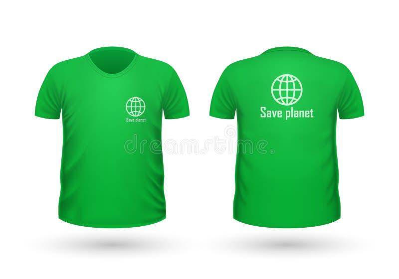 Сохраньте взгляд футболки планеты передний и задний вектор иллюстрация вектора