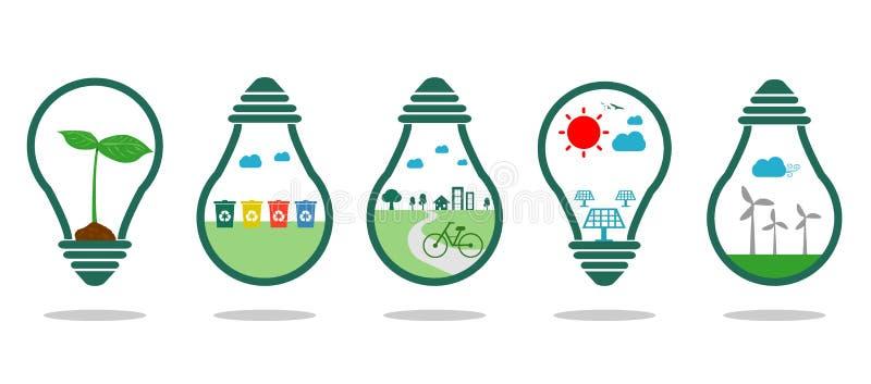 Сохраньте зеленый цвет символа энергии, энергию Eco зеленую, сохраньте мир, значок света шарика, иллюстрацию вектора иллюстрация штока