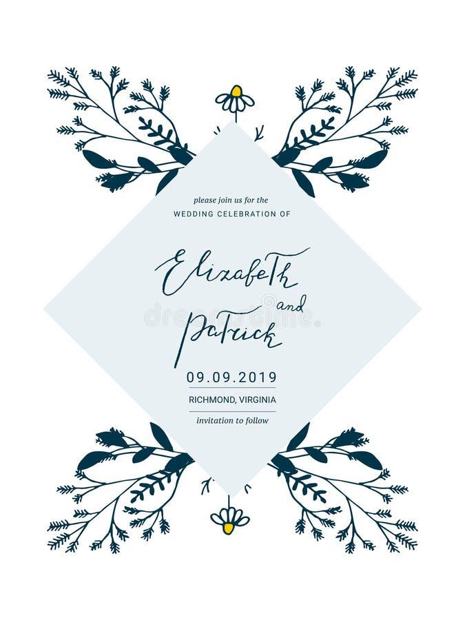 Сохраньте карточку даты с цветками нарисованными рукой бесплатная иллюстрация