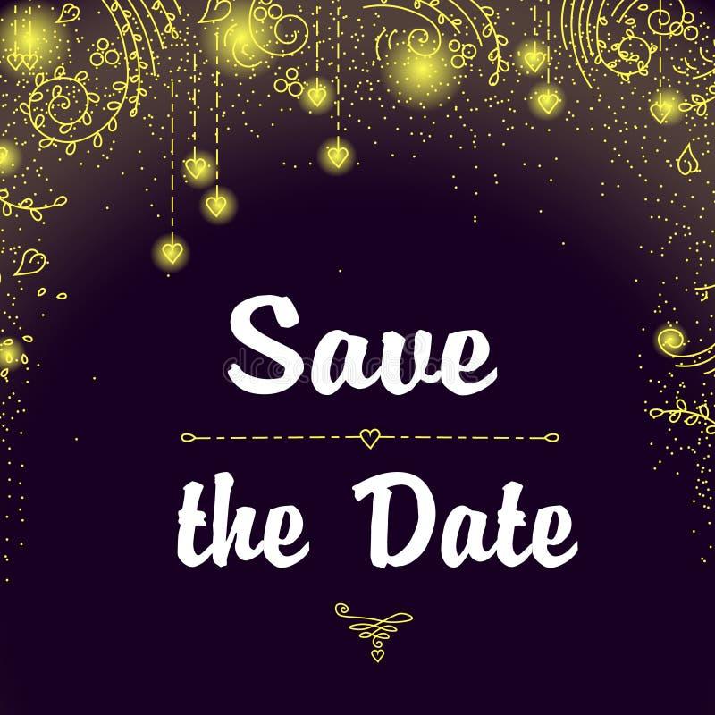 Сохраньте карточку приглашения даты с светами праздника стоковое изображение
