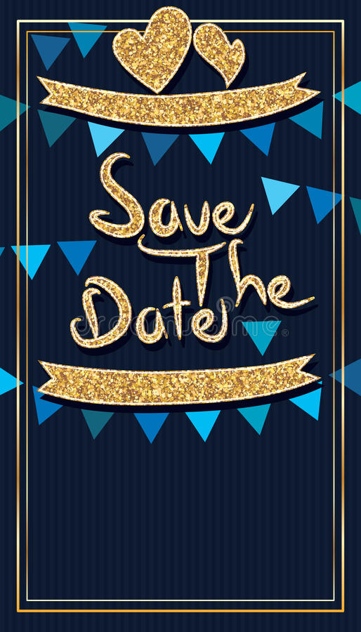 Сохраньте карточку яркого блеска даты золотую иллюстрация штока