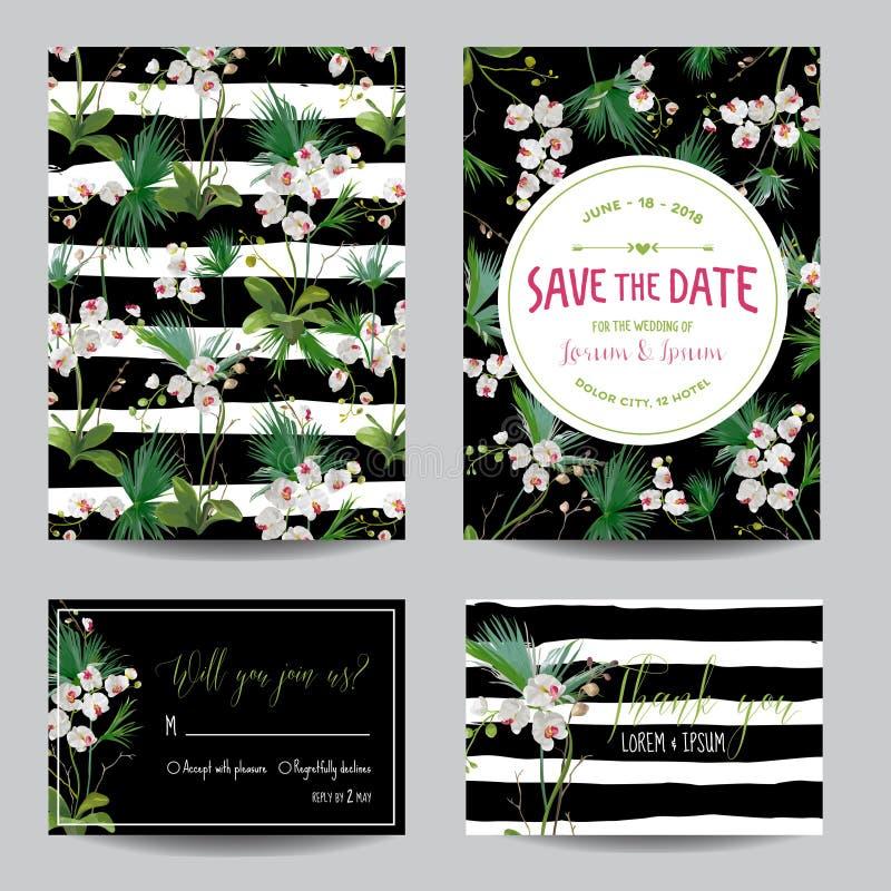 Сохраньте комплект карточки даты Тропические цветки и листья орхидеи Wedding приглашение бесплатная иллюстрация
