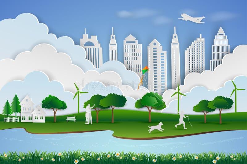 Сохраньте концепцию окружающей среды и энергии, бумажный дизайн искусства ландшафта с городом зеленого цвета eco иллюстрация вектора