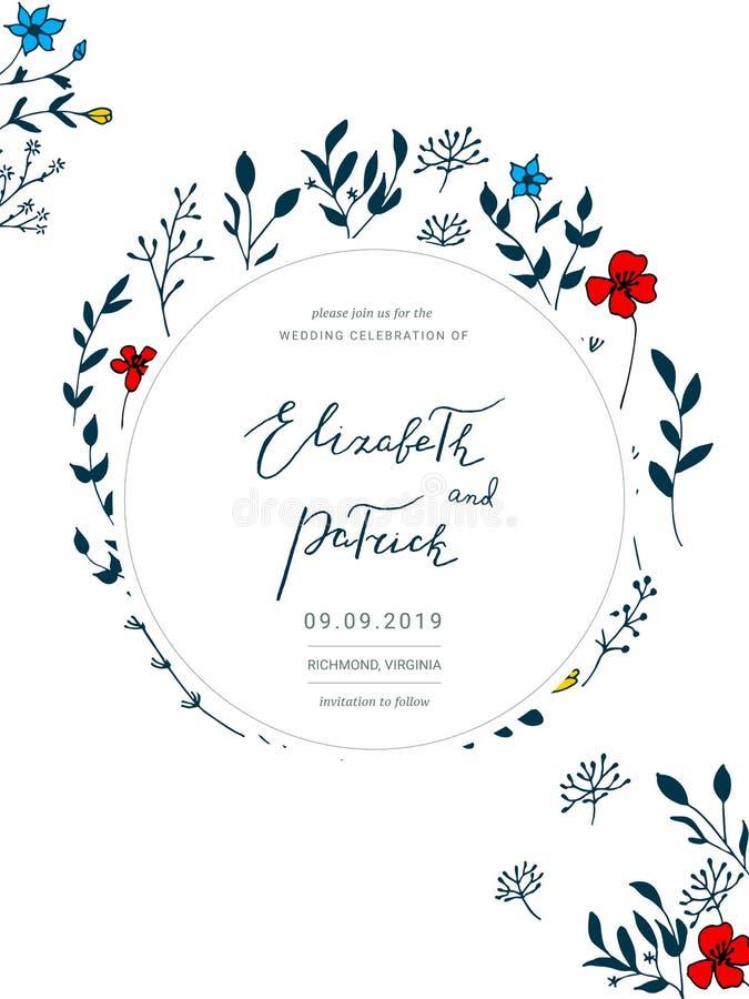 Сохраньте шаблон даты с цветками нарисованными рукой бесплатная иллюстрация