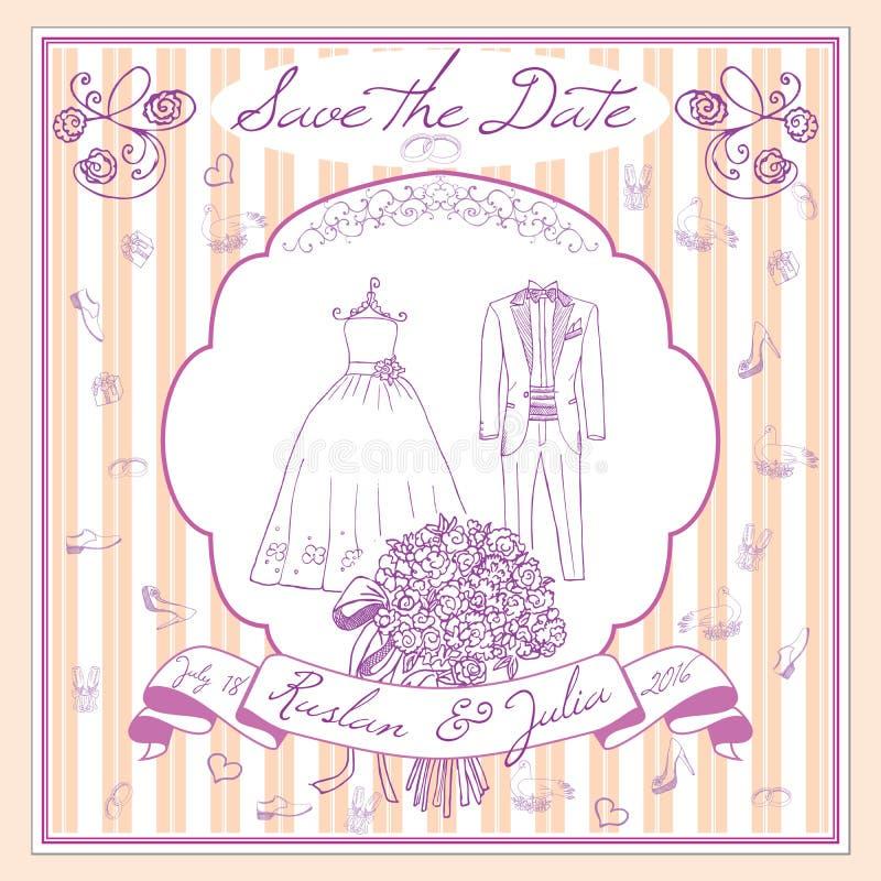 Сохраньте шаблон datecard с элементами нарисованными рукой wedding костюм платья и смокинга невесты цветков, стекла для Шампаря и бесплатная иллюстрация