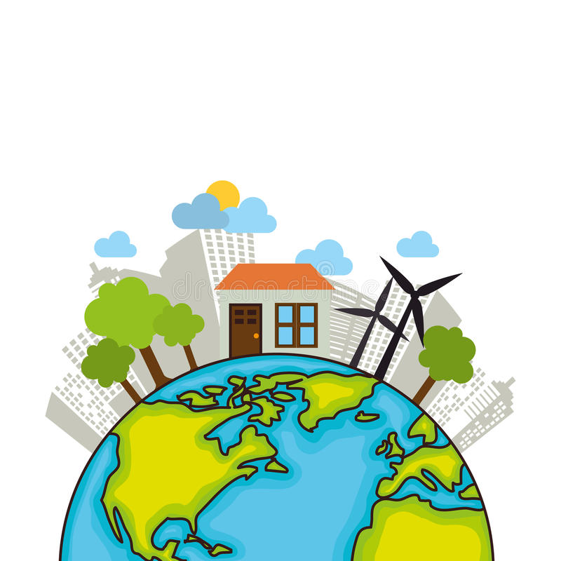 сохраньте экологичность планеты мира иллюстрация вектора